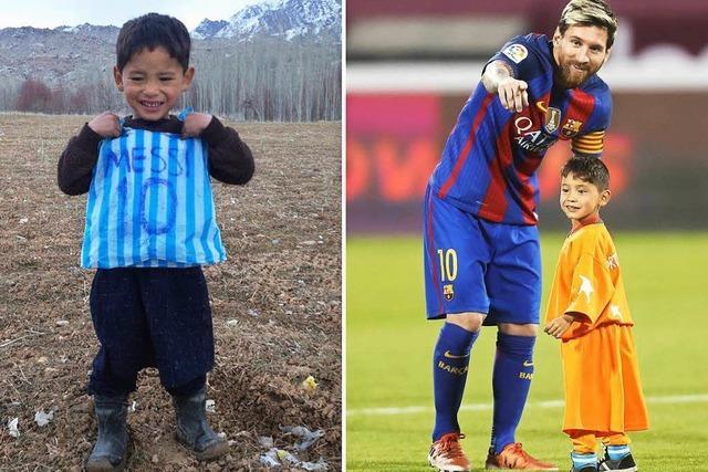 Kleiner Messi-Fan trifft Idol und begeistert Tausende