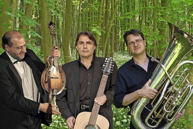 Die zwei und der mit der Tuba mit folkloreverbundener Musik im Lörracher Nellie Nashorn
