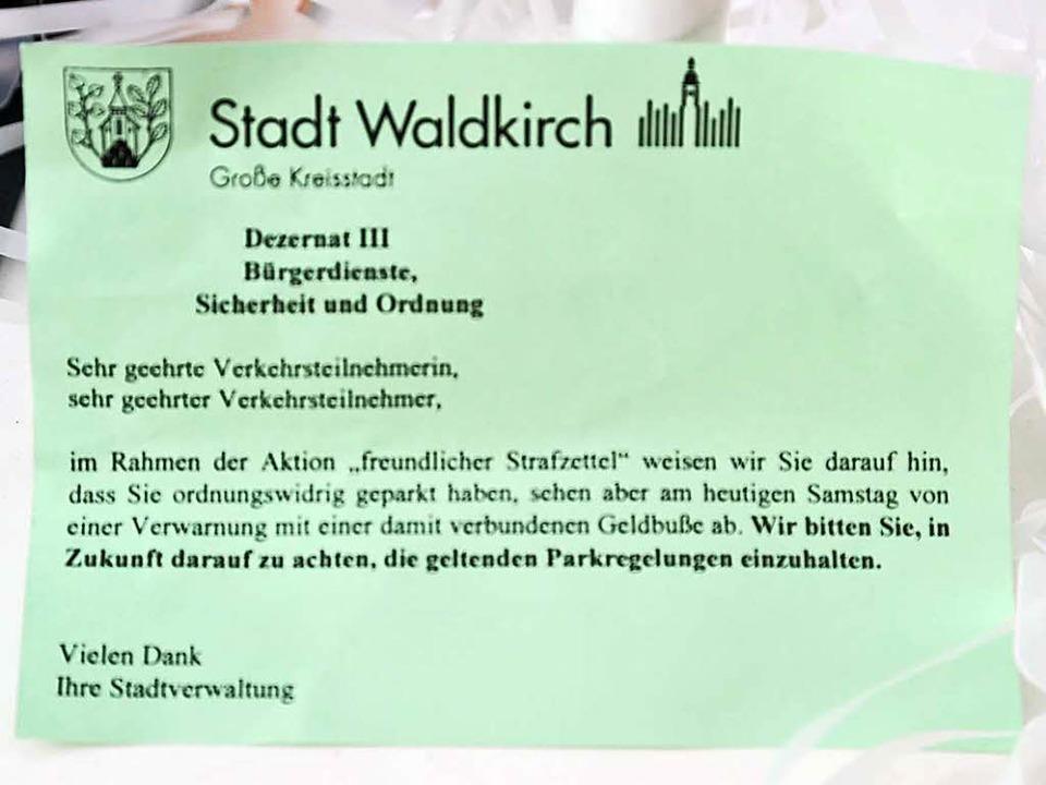 Das nette Knöllchen    Foto: Hiorst Dauenhauer/Stadt Waldkirch