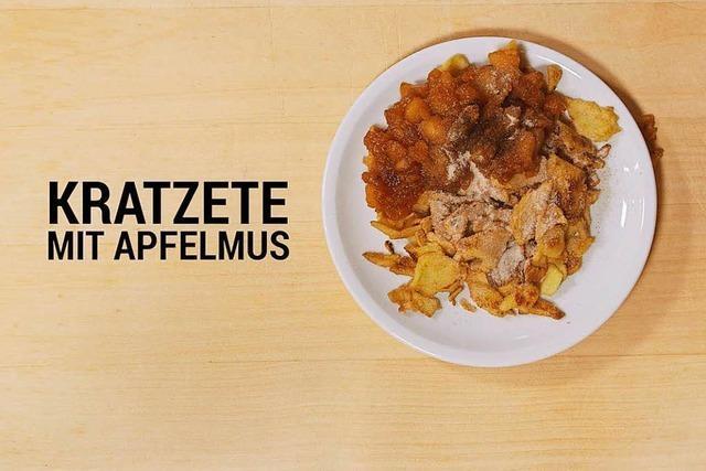 Badisches Kochstudio: Kratzete mit Apfelmus