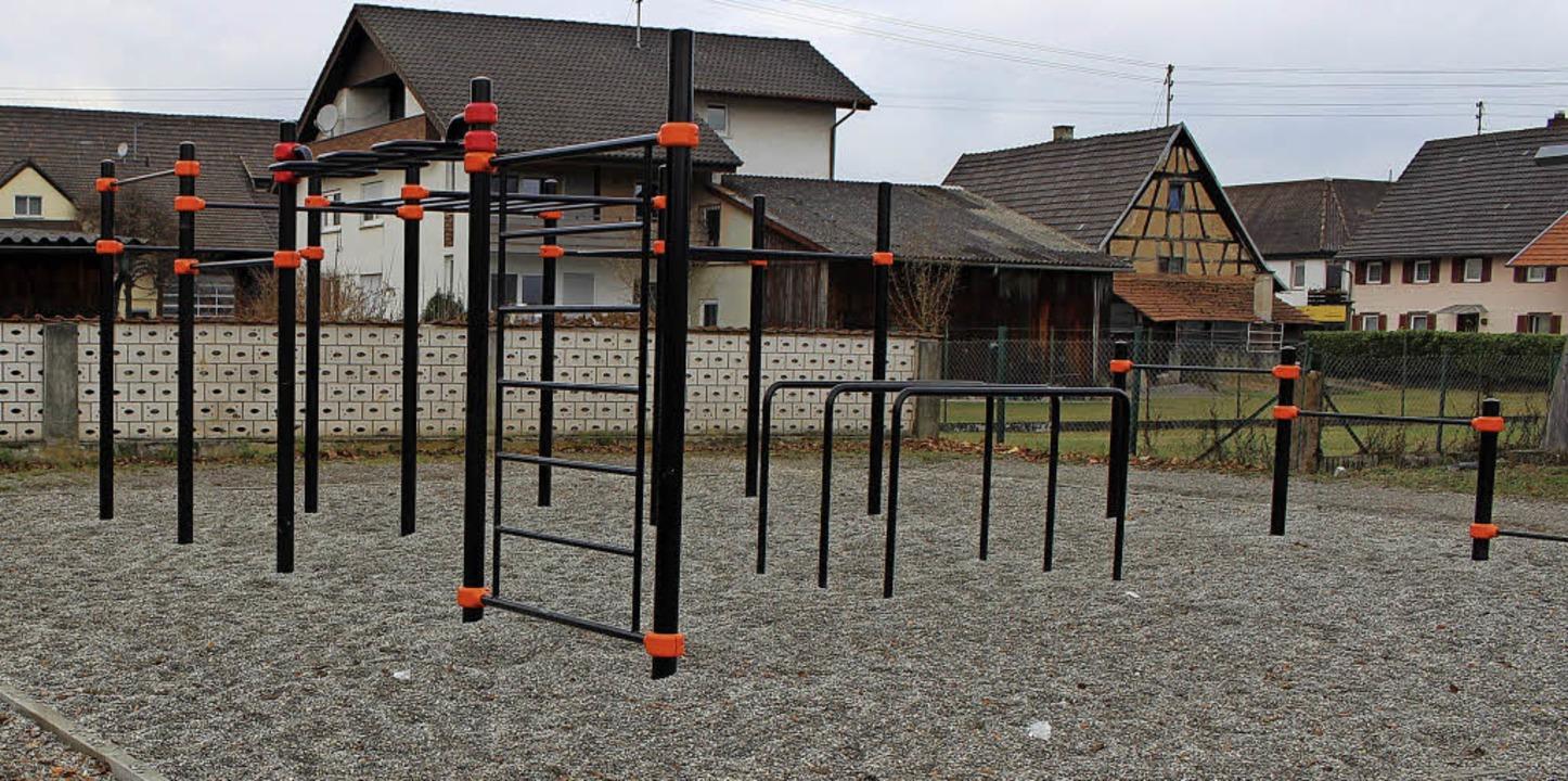 Die Geräte im Calisthenics-Park in Ich...n wieder genutzt, wenn es wärmer ist.   | Foto: Axel Reibel