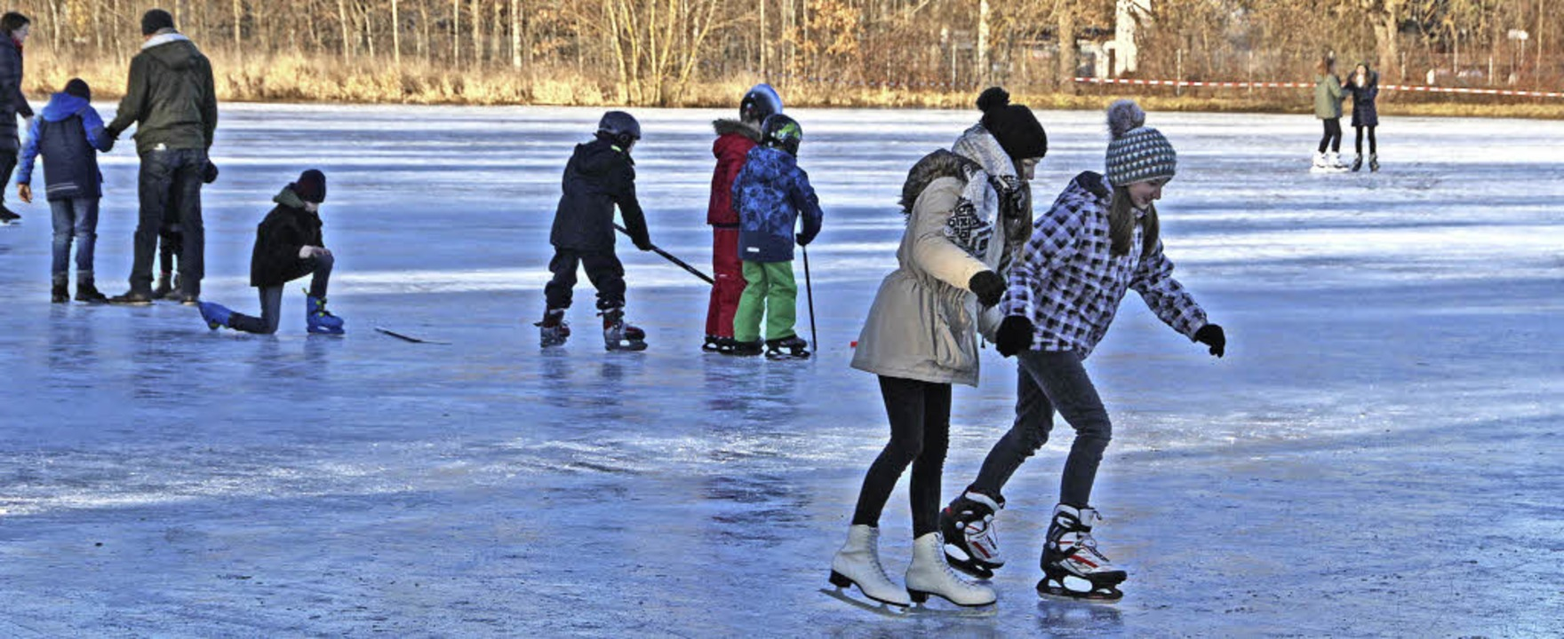 Beste Bedingungen herrschen auf der Eiswiese am Rande des Schlossparks.    | Foto: Günter Vollmer