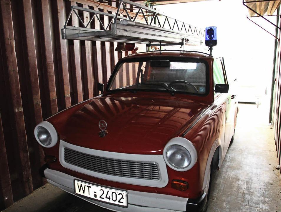 Der alte Bekannte: Den Trabant P 601 K...g St. Florian zum Drehleiter-Trabi um.    Foto:  David Rutschmann