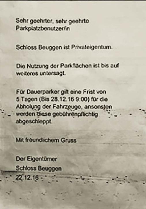 Diesen Zettel haben die Pendler und Pa...nter ihren Scheibenwischern gefunden.   | Foto: Privat