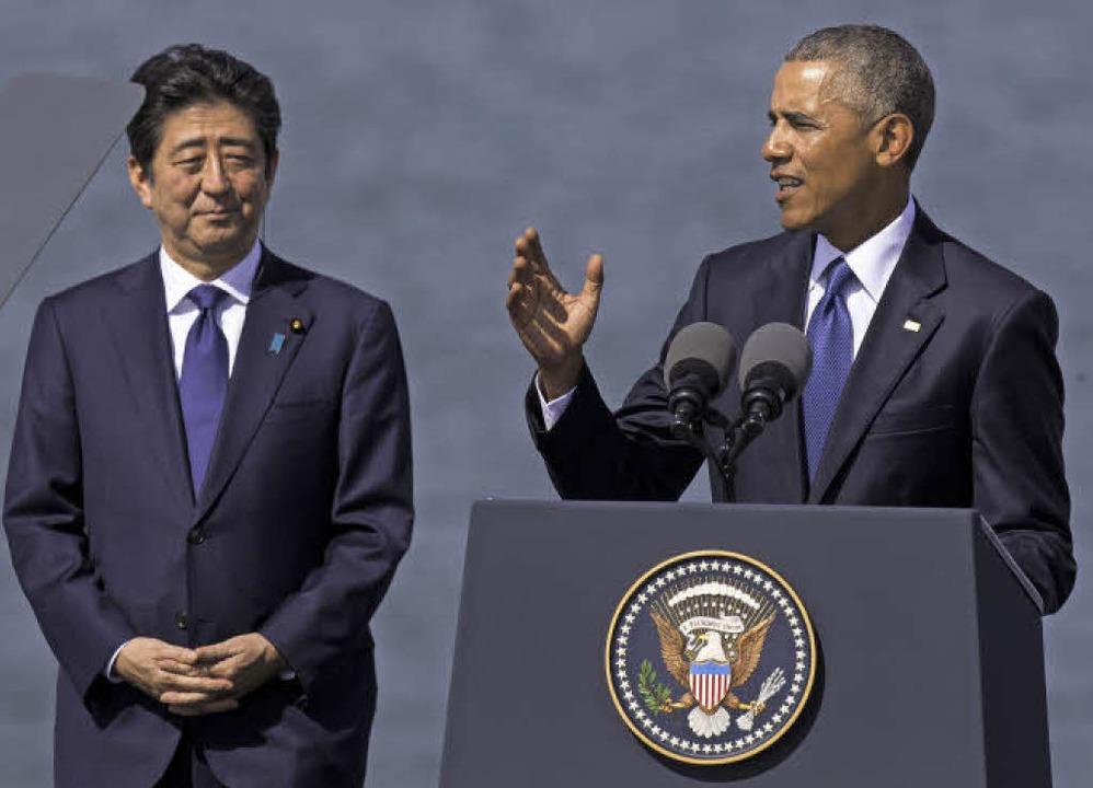 Shinzo Abe (l.)  und Barack Obama auf diplomatisch schwierigem Terrain    Foto: AFP