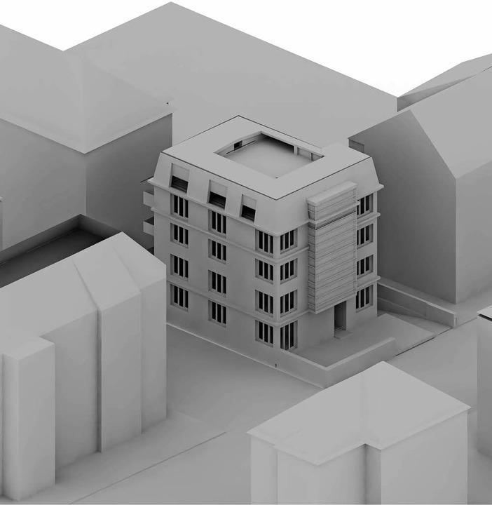 Der jüngste Entwurf für den Neubau an sensibler Stelle   | Foto: Visualisierung: SChindler
