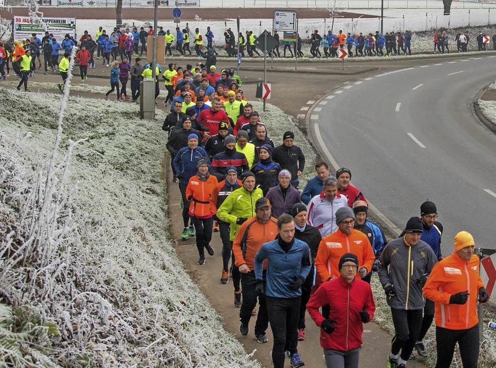 Mehr als 150 Läuferinnen und Läufer  w...d zurück zur Mühlbachhalle unterwegs.   | Foto: Olaf Michel