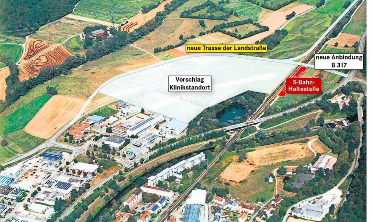 Das erweiterte Entenbad ist der Lörrac...ein Anschluss an die B317 möglich ist.  | Foto: BZ-Grafik