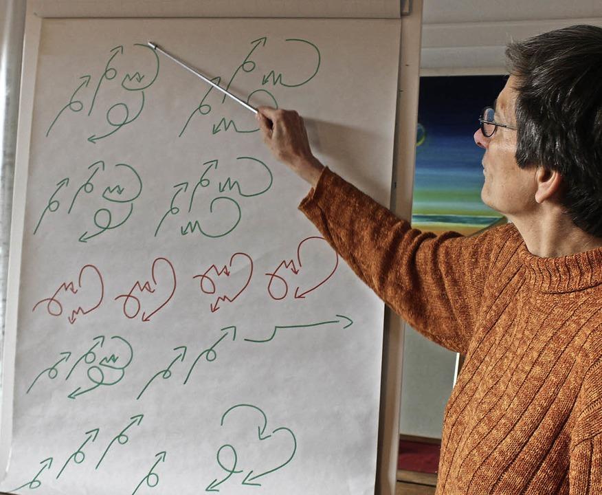 Carola Zenetti zeigt eine Möglichkeit,...stücks in Pfeilsymbolik darzustellen.   | Foto: Erich Krieger