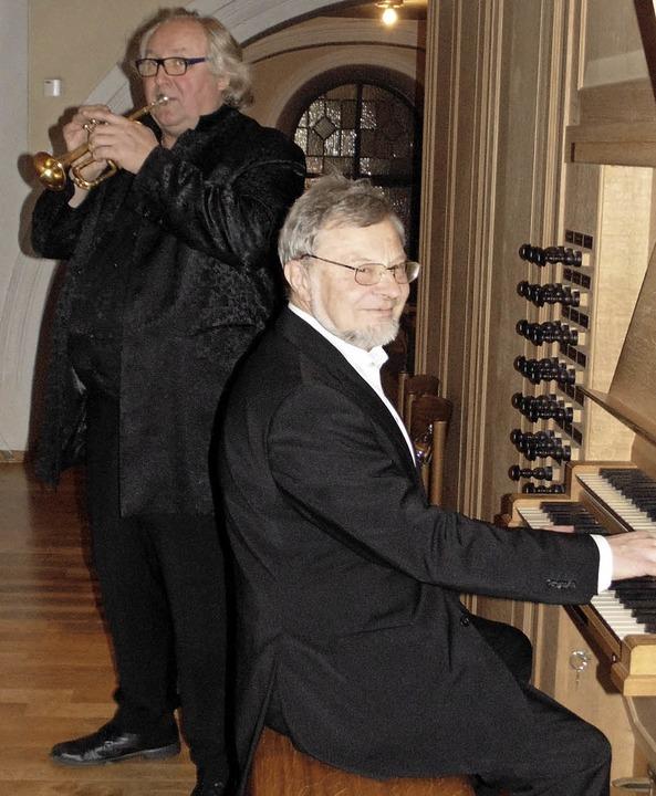 Der Trompeter Reinhold Friedrich und d...in der Wehrer St.-Martins-Kirche auf.   | Foto: Michael Gottstein