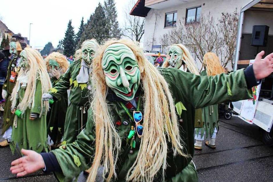 Mehr als 2500 Hästräger von über 120 Narrengruppen aus ganz Südbaden, aber auch aus Oberschwaben, vom Neckar und der Schweiz stellten am Sonntag den Marcher Ortsteil Hugstetten auf den Kopf. (Foto: Mario Schöneberg)