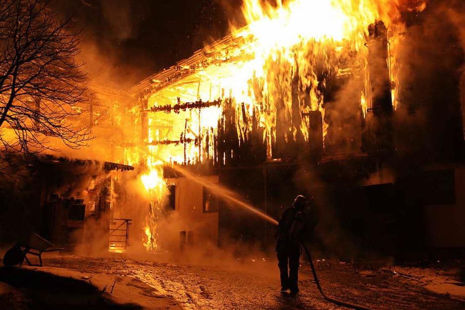 Der Stall in Klengen hat lichterloh gebrannt. (Foto: Kamera24.tv)