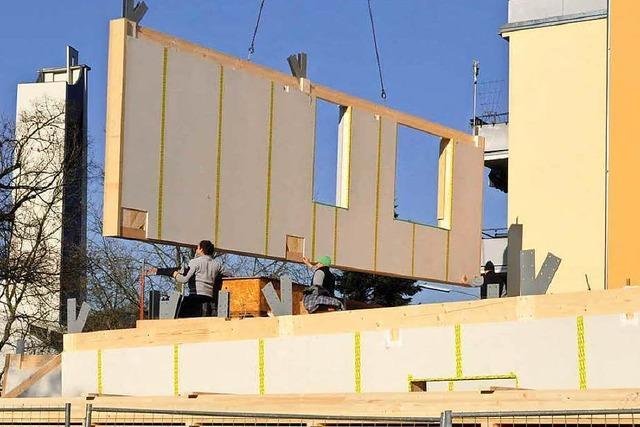 Lörrachs erstes Holzhaus steht – fünf Geschosse in fünf Tagen
