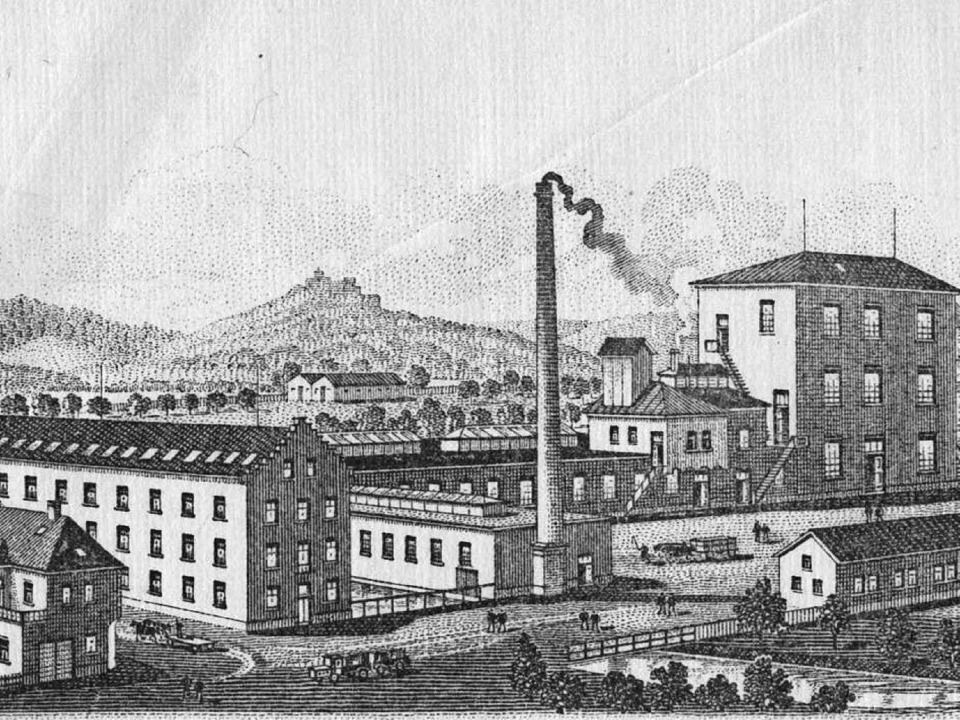 Briefkopf der Chemischen Fabrik Herkul...den Staffelgiebelhaus in der Bildmitte  | Foto: Stadtarchiv Staufen