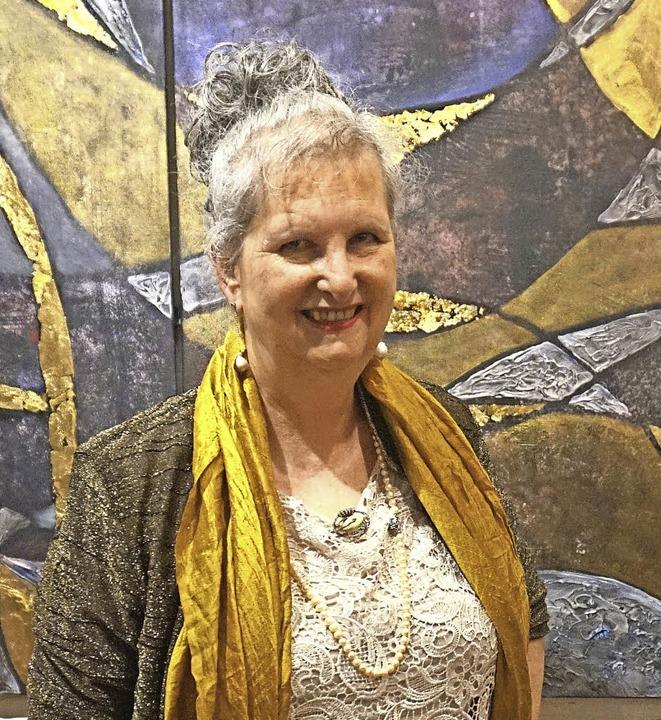 Monika Schacherer-Bleyler vor einem ihrer Werke   | Foto: Julius Steckmeister