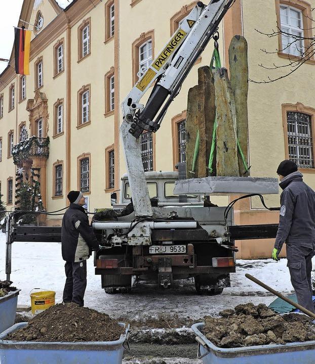 Thomas Friedrich und Simon Kopietz vom... künftigen Platz vor dem Elztalmuseum.  | Foto: Sylvia Sredniawa