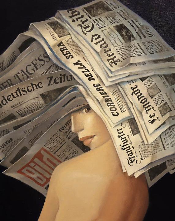 """Origineller Hingucker im Grand Salon: ...verkäuferin"""" von Dimitri Vojnov     Foto: Roswitha Frey"""