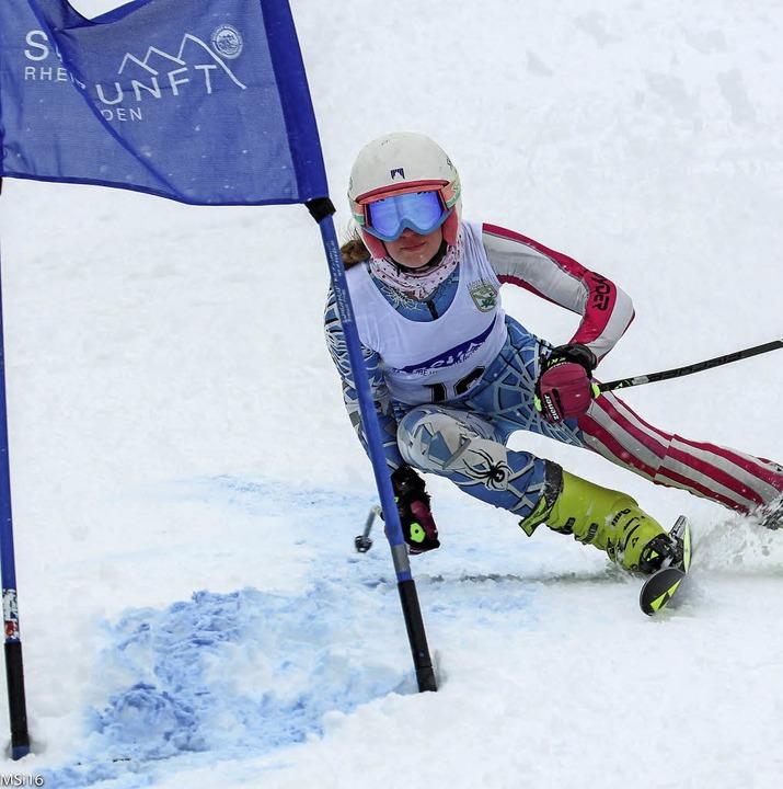 Leah Bühler vom SC St.Blasien raste in ihrem ersten Super-G-Rennen auf Rang 13.   | Foto: bühler
