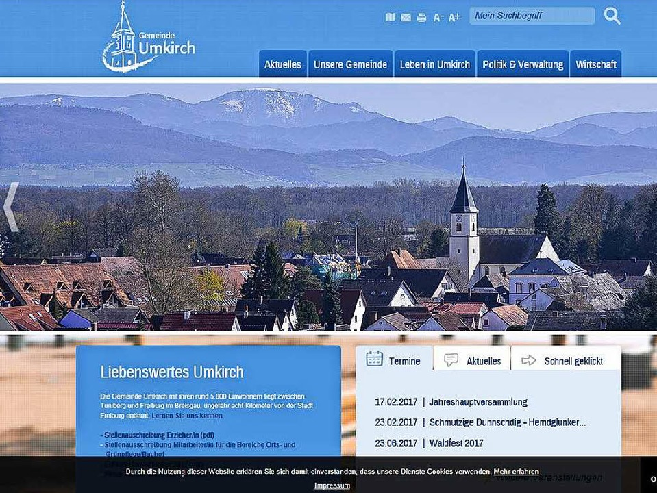 Reich an Fotos: der Internet-Auftritt der Gemeinde Umkirch    Foto: Badische Zeitung