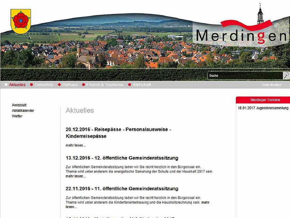 Sparsam an Informationen, aber übersic...h: die Homepage der Gemeinde Merdingen    Foto: ---
