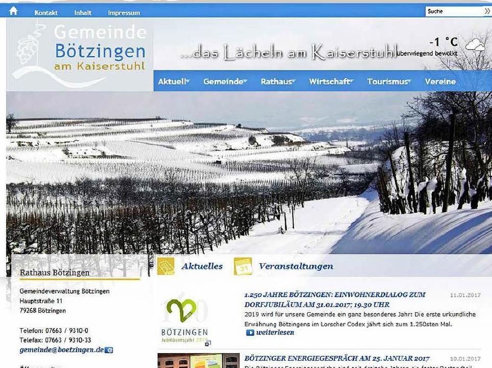 Tolles Design, ausführlich und aktuell: die  Website der Gemeinde Bötzingen    Foto: Badische Zeitung