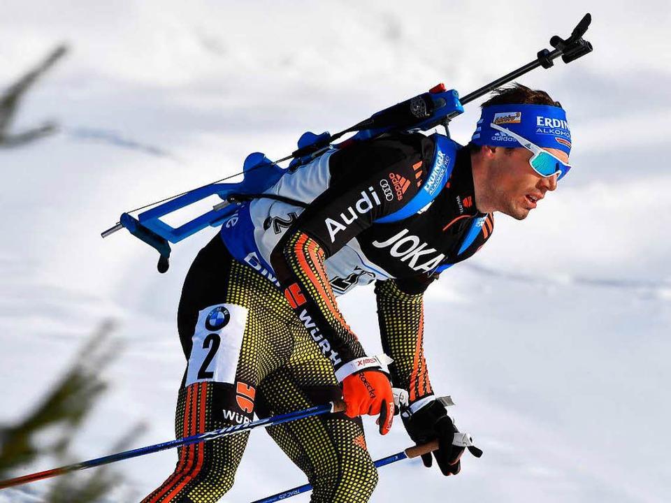 Biathlon: Simon Schempp aus Deutschlan... Die deutsche Mannschaft gewinnt Gold.  | Foto: dpa