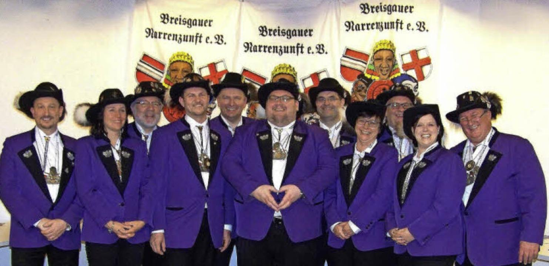 Elf Vertreter aus den Freiburger Narre...r, Jessica Schütz (vorne, von links).   | Foto: Hans Sigmund