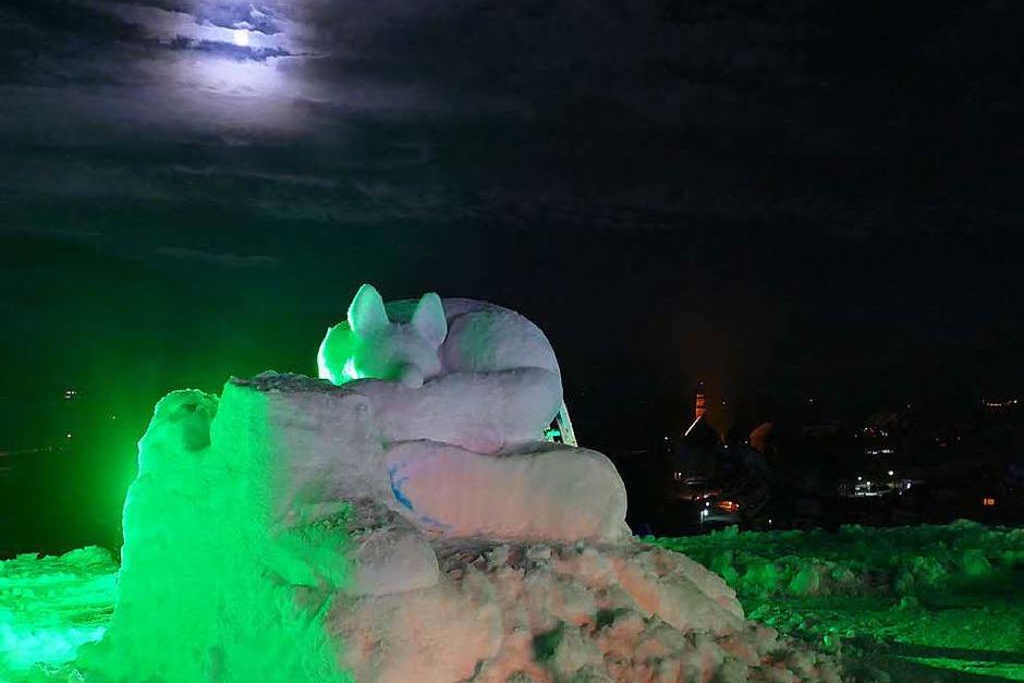 Nachts wurden die Schneeskulpturen in unterschiedlichen Farben beleuchtet. (Foto: Sebastian Barthmes)