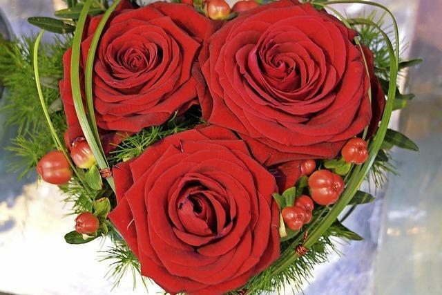 Blumenläden sind auf den Valentinstag vorbereitet