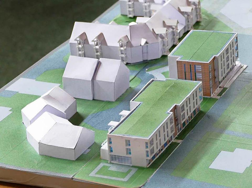 Modell der beiden geplanten Häuser im Stockacker  | Foto: Markus Donner
