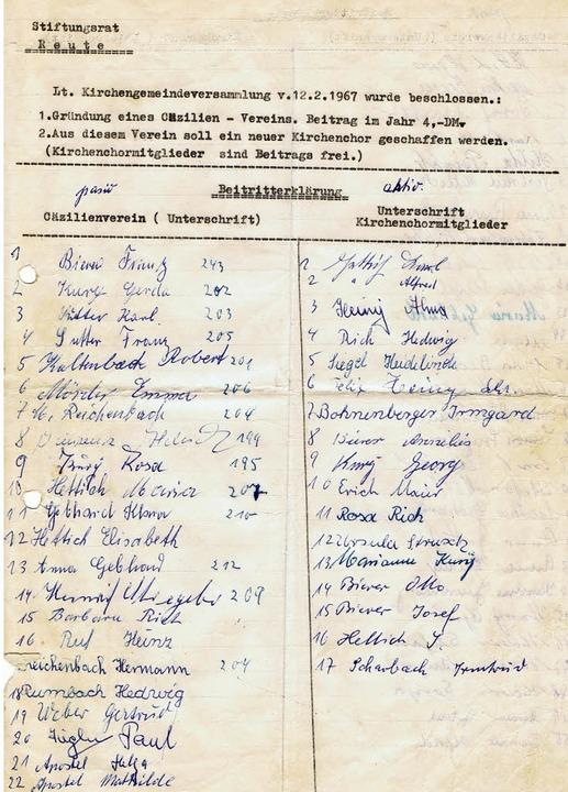 Historisches Dokument: Eine  Unterschriftenliste von 1967  | Foto: Privat