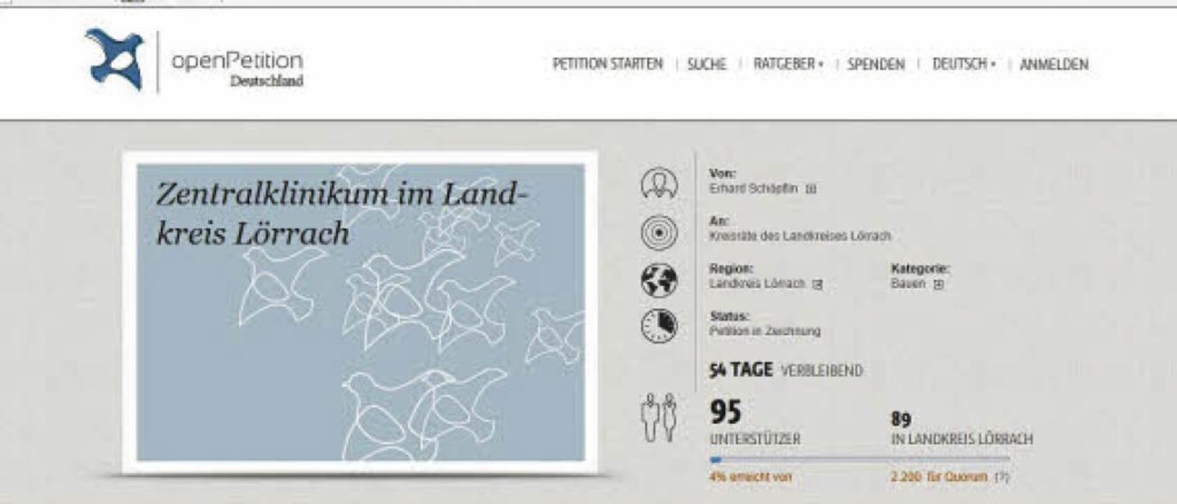 Votum zum Zentralklinikum per Klick &#...ternet wurde eine Petition gestartet.     Foto: Screenshot