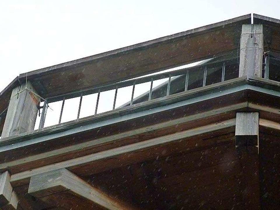 Nur notdürftig mit Kabelbinder wurden ...geschraubten Gitter wieder angebracht.  | Foto: Privat