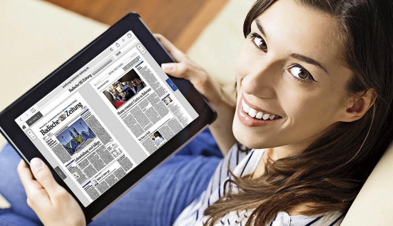 Die eZeitung auf dem Tablet – eines der digitalen BZ-Produkte    Foto: MorePixels (istockphoto.com), Copyrigh...tage: Andreas Weber (Badische Zeitung)