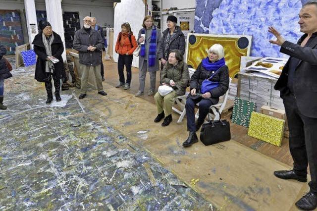 Künstler Herbert Maier zeigt BZ-Lesern im Atelier seine Arbeitsweise