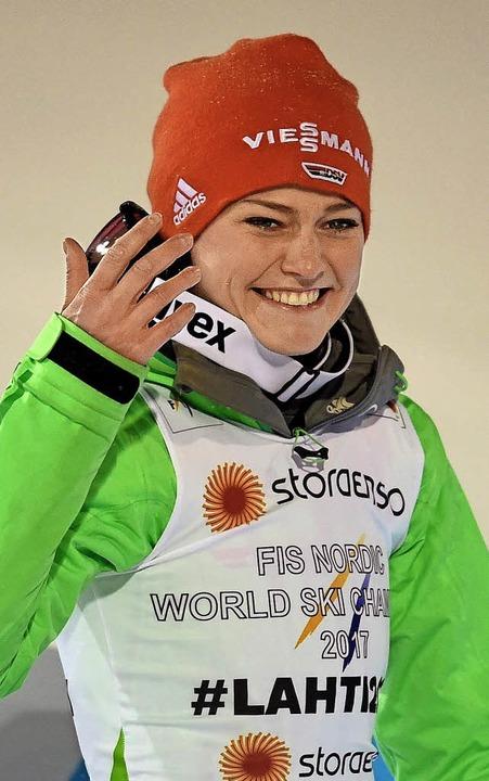 Carina Vogt, die Skisprung-Königin von Lahti   | Foto: afp