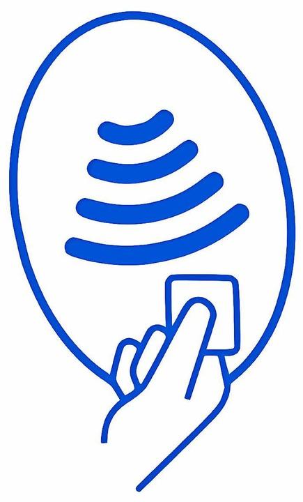 An diesem Symbol erkennt man das kontaktlose Bezahlen  | Foto: Grafik:BZ