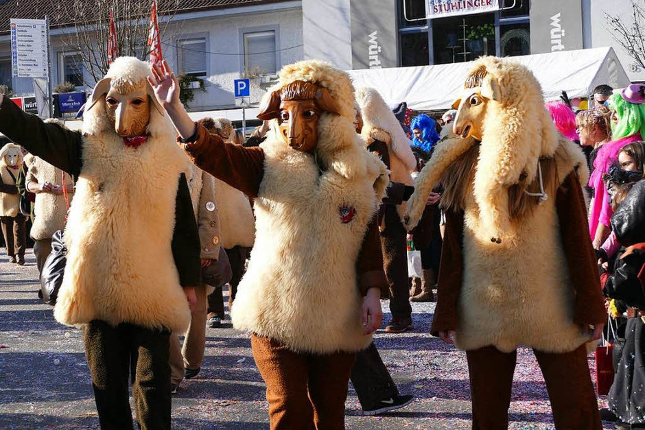 Buntes Narrenvolk beim Fasnetmendigumzug in Stühlingen. (Foto: Stefan Limberger-Andris)