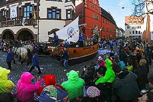 Der Fasnetmendig-Umzug in Freiburg in 360-Grad-Perspektive