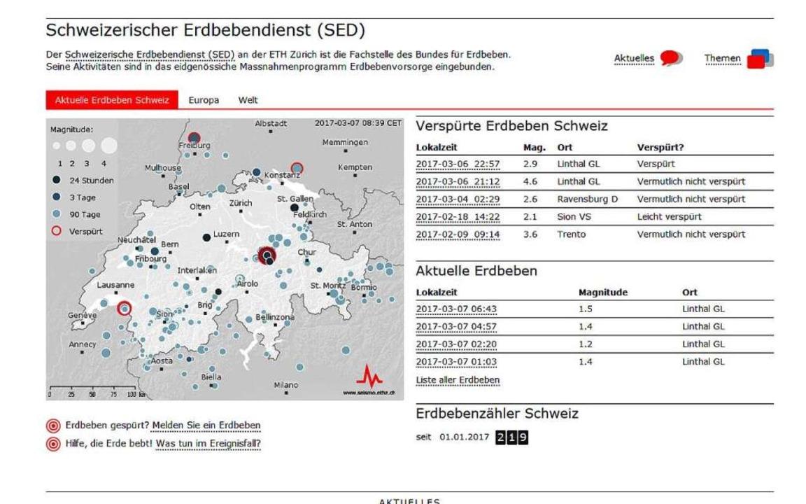 Schweizerischer Erdbebendienst (SED)  | Foto: Screenshot/Schweizerischer Erdbebendienst (SED)
