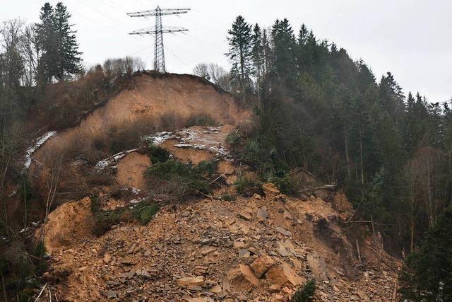 Massiver Erdrutsch in Wutachschlucht gefährdet Hochspannungsmast