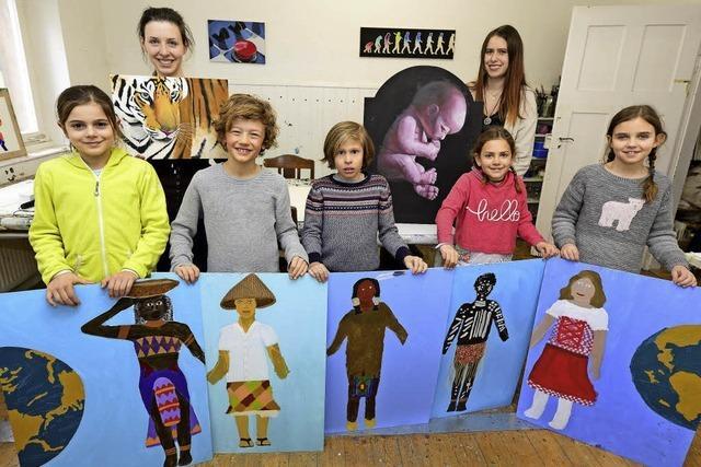 Kinder und Jugendliche setzen Zukunftsfragen im Atelier von Hilde Bauer künstlerisch um