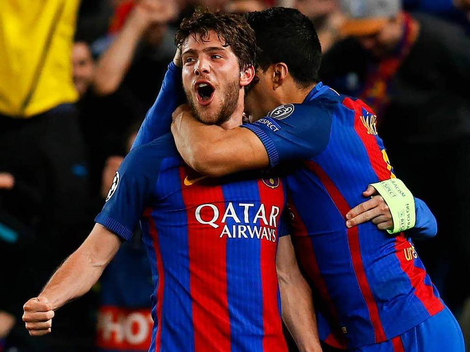 Sergi Roberto traf in der fünften Minu... Nachspielzeit zum entscheidenden 6:1.  | Foto: AFP