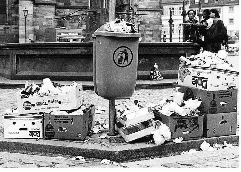 Nicht so schön: Müllbergle 1974 am Münstermarkt    Foto: Archiv ASF
