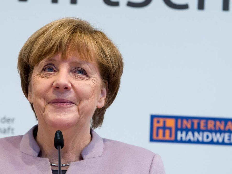 Bundeskanzlerin Angela Merkel  auf der... in München bei  einer Pressekonferenz    Foto: dpa