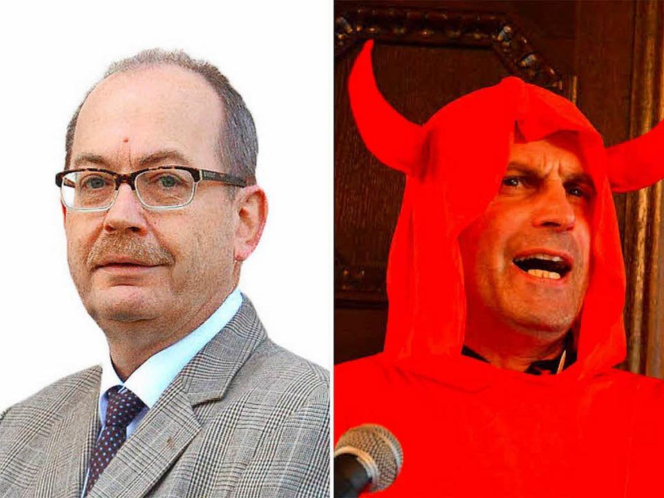 AfD-Sprecher Wolfgang Fuhl überlegt, S... Pfarrer Thorsten Becker zu erstatten.  | Foto: Ruda/Montage (dso)