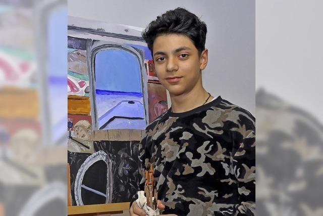 Der 14-jährige Nachwuchsmaler Enea Pinto de Lellis malt auch schon mal die kleine Schwester