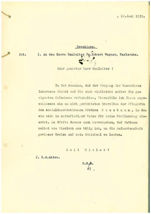 "Freiburgs OB Franz Kerber regt im Brie...te Maßnahmen"" gegen Nussbaum an.  | Foto: Stadtarchiv Freiburg"