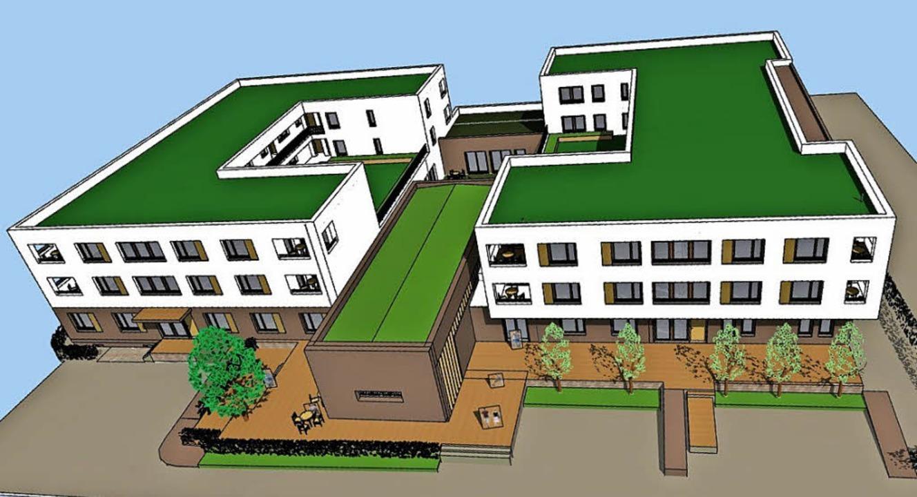 Die geplante  Wohnanlage: Im Erdgescho...itte das Begegnungszentrum entstehen.   | Foto: Visualisierung: Archimedes Architekten GmbH