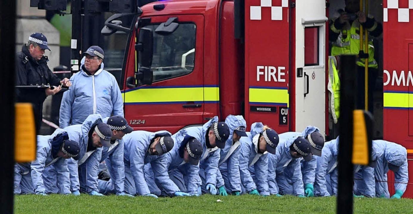 Polizisten suchen nach dem Terroranschlag eine Wiese nach Beweisen ab.    Foto: AFP